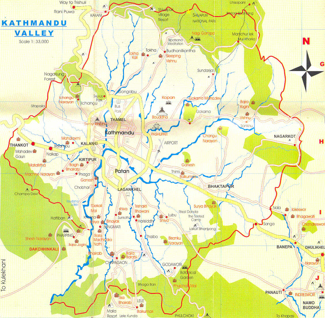 Карта долины Катманду \ Kathmandu valley